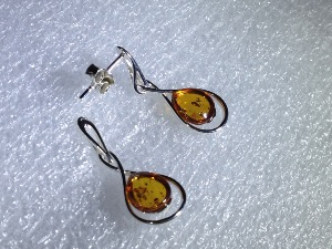 Honey Amber, Sterling Silver Drop & Studs Earrings (no.14)