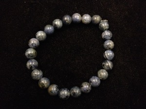 Dumortierite - 8mm Round Beads - Elasticated Bracelet