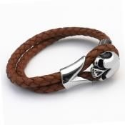 Skull - Leather & Steel bracelet - Tan