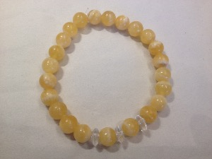 Aragonite - Yellow with 3 Quartz 'Button' 8mm Beads Bracelet