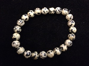 Jasper - Dalmatian - 8mm Round Beads - Elasticated Bracelet
