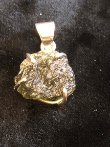 Moldavite and Sterling Silver Pendant M02