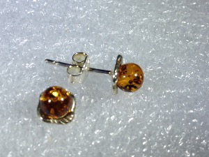 Honey Amber, Sterling Silver Studs Earrings