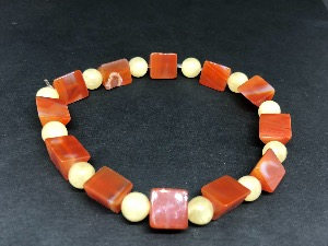 Carnelian - Wedge Shape Beads with Aragonite Sphere Beads, Elasticated Bracelet