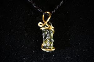 Moldavite, Hand Wired Pendant (No.194)