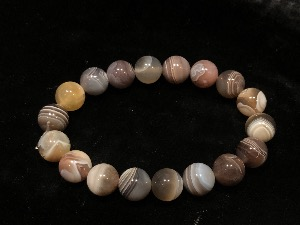 Agate - Botswana Agate 10mm Beads, Elasticated Bracelet 19cm (Ref 121107)