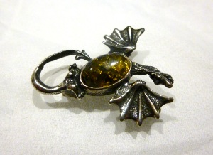 "Amber - Green Amber ""Dragon"" Brooch (No.31)"