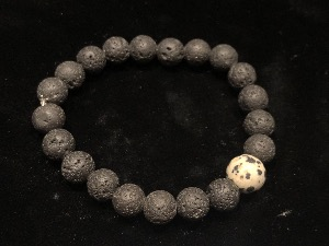 Lava 8mm Round Bead with Dalmatian Jasper 10mm Round Bead Elasticated Bracelet (ref111914)