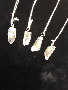Natural Quartz Point Pendant with silver plated fittings