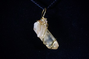 Natural Citrine Hand Wired Pendant (No.409)