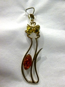 Amber - Sterling Silver Cat Pendant with green & honey Amber
