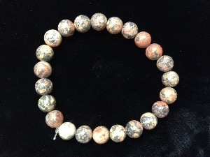 Rhyolite - Leopardskin - 8mm Round Beads - Elasticated Bracelet