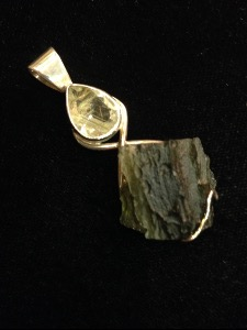 Moldavite and Rutilated Quartz - Sterling Silver Pendant (Ref 84)