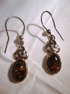 Green Amber - Sterling Silver Hook - Celtic Drop Earrings (No.23)