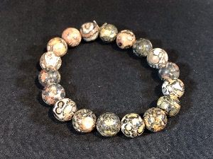 Jasper - Leopardskin 10mm Round Beads Elasticated Bracelet (2)