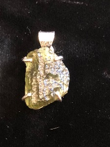 Moldavite and Sterling Silver pendant M03