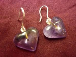 Amethyst Heart Silver Earrings