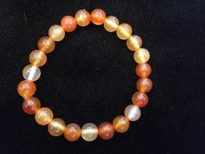 Carnelian Agate - 8mm Round Beads - Elasticated Bracelet