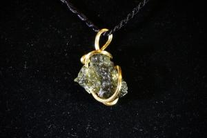 Moldavite, Hand Wired Pendant (No.187)