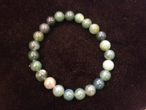 Agate - Moss - 8mm Round Beads - Elasticated Bracelet