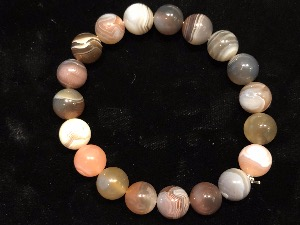 Agate - Botswana Agate 10mm Beads, Elasticated Bracelet 19cm