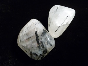 "Quartz - with Black Tourmaline (""A"" Grade) Tumble Stone (Tourmalinated)"