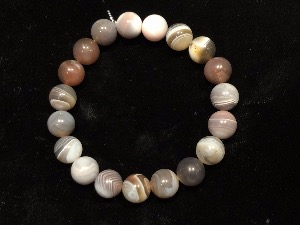 Agate - Botswana Agate 10mm Beads, Elasticated Bracelet 19cm (Ref 091918)