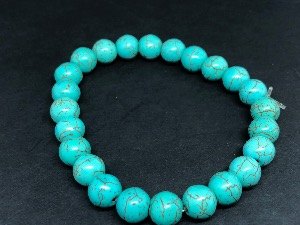 Howlite - Dyed sphere Beads, Elasticated Bracelet.