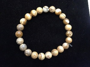 Jasper - Picture - 8mm Round Beads - Elasticated Bracelet