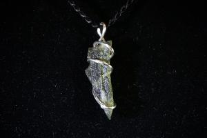 Moldavite, Hand Wired Pendant (No.178)