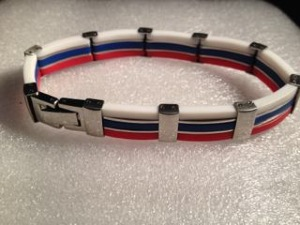 Rubber with Stainless Steel Bracelet - Red White & Blue