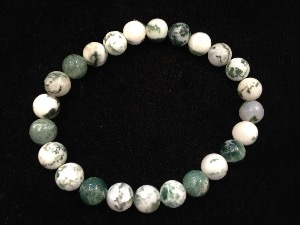 Agate - Tree - 8mm Round Beads - Elasticated Bracelet