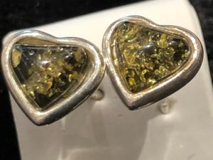 Amber - Green - Sterling Silver Heart Stud Earrings (refES1)