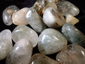 Quartz - With Green Rutile Tumbled Stone