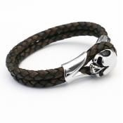 Skull - Leather & Steel bracelet - Brown