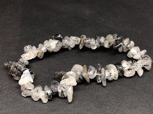 Black Tourmaline in Quartz - Gemstone chip bead bracelet