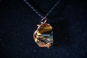 Blue Tiger Eye Hand Wired Pendant (No.751)
