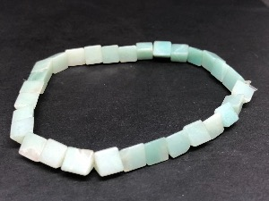 Amazonite - Wedge Shape Beads, Elasticated Bracelet.
