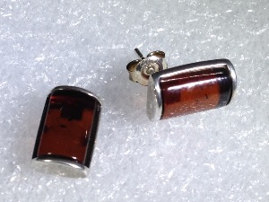 Red Amber, Sterling Silver Studs Earrings