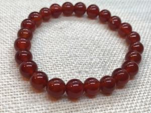 Carnelian - 8mm Round Beads - Elasticated Bracelet  19cm