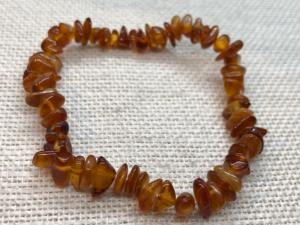 Amber - Honey Colour Baltic Amber - Elasticated Bead Bracelet ( No.1)