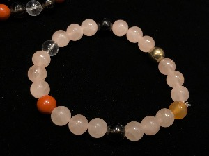 Love & Protection -  Rose Quartz Bead Bracelet, Elasticated, 19cm (ref111934)