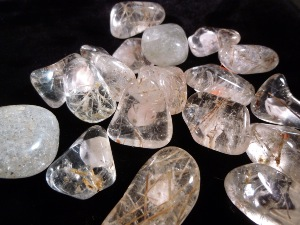 Quartz - with Actinolite inclusions - Tumbled Stone