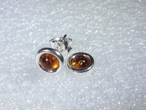 Honey Amber, Sterling Silver Stud Earrings (no.5)