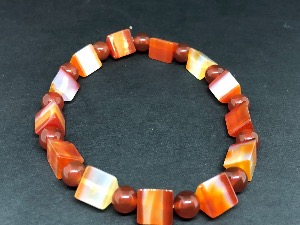 Carnelian - Wedge shape and Sphere Beads Elasticated Bracelet