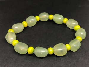 New Jade - Tumbled Jade Beads and wooden Bead spacers -  Bracelet