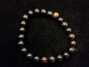 Obsidian - Mahogany - 8mm Round Beads - Elasticated Bracelet