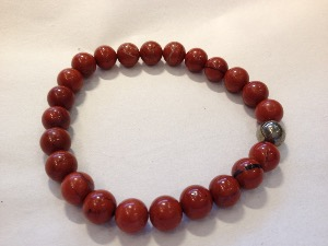 Jasper - Red with Pyrite 8mm Round Beads - Elasticated Bracelet