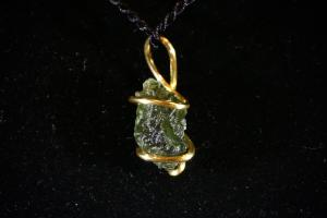 Moldavite, Hand Wired Pendant (No.193)