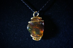 Amber Hand Wired Pendant (No.752)
